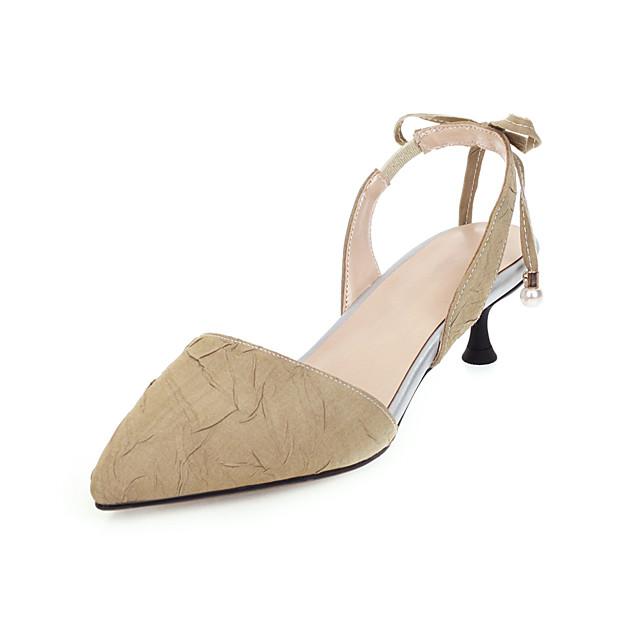 Women's Sandals Kitten Heel Pointed Toe Bowknot Microfiber Classic / Sweet Spring & Summer Black / Almond / Green / Wedding / Party & Evening