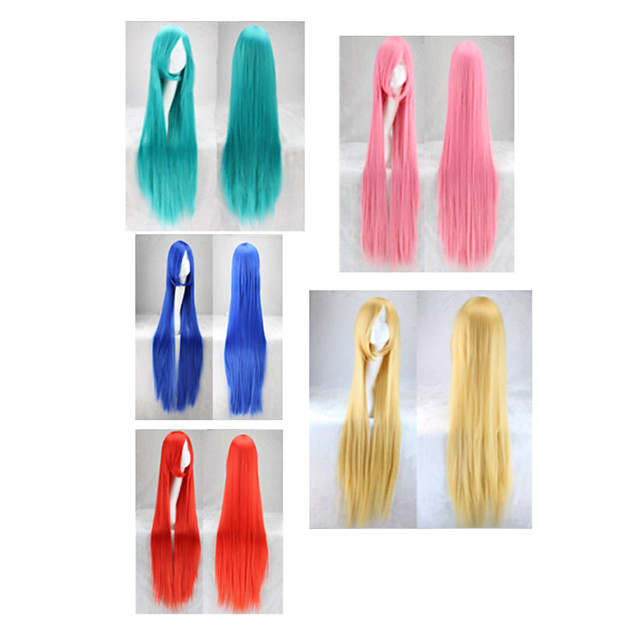 Synthetic Wig Curly Asymmetrical Wig Long Very Long Lake Blue fluorescent green Pink+Red Red Yellow Synthetic Hair 39 inch Women's Best Quality Red Blue