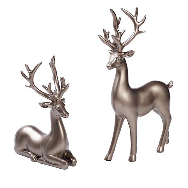 Couple Deer Ornaments Figurine Statues Creative Interior Car Ornaments Cake Decorations Desktop