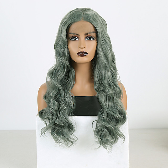 Synthetic Lace Front Wig Wavy Middle Part Lace Front Wig Long Green Synthetic Hair 18-26 inch Women's Cosplay Soft Adjustable Green