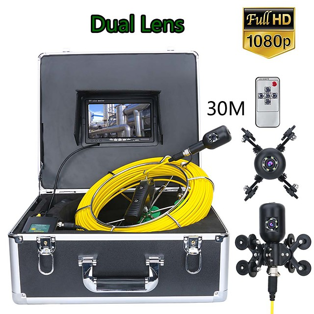 F7PS-2C-30M 7inch DVR 30M 1080P HD Dual Camera Lens Drain Sewer Pipeline Industrial Endoscope Pipe Inspection Video Camera