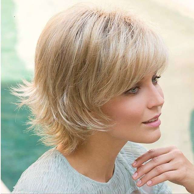 Synthetic Wig Curly Asymmetrical Wig Blonde Short Blonde Synthetic Hair 6 inch Women's Fluffy Blonde
