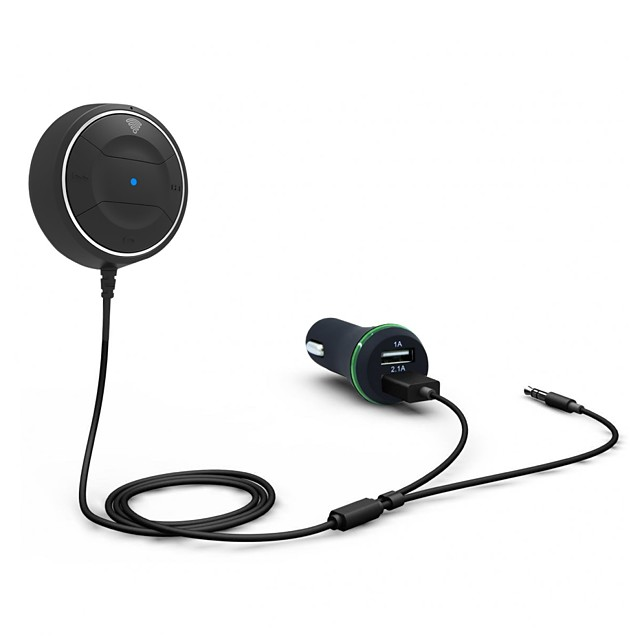 Car Kit Wireless Bluetooth 4.0 Audio Music Receiver Hands-free Speakerphone with Dual USB Car Charger