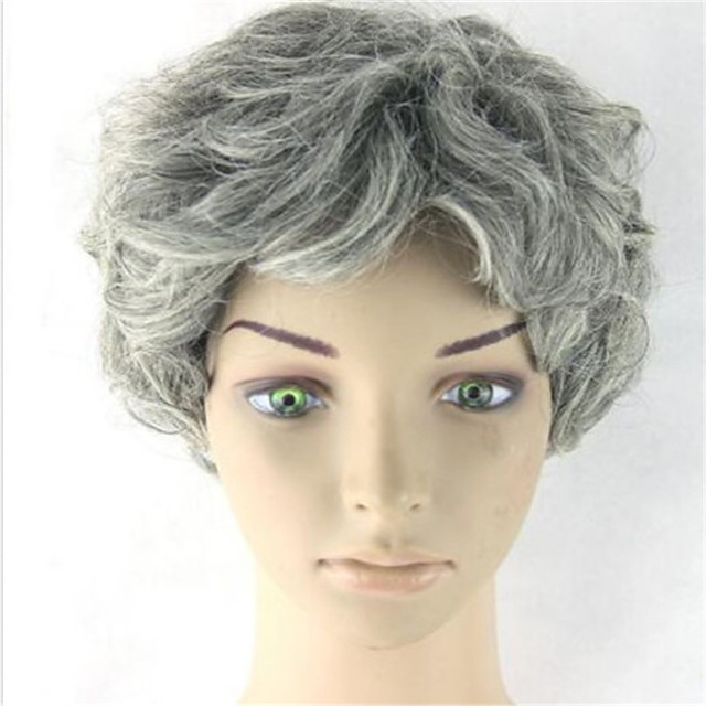 Synthetic Wig Loose Curl Asymmetrical Wig Short Grey Synthetic Hair 6 inch Women's Best Quality Gray