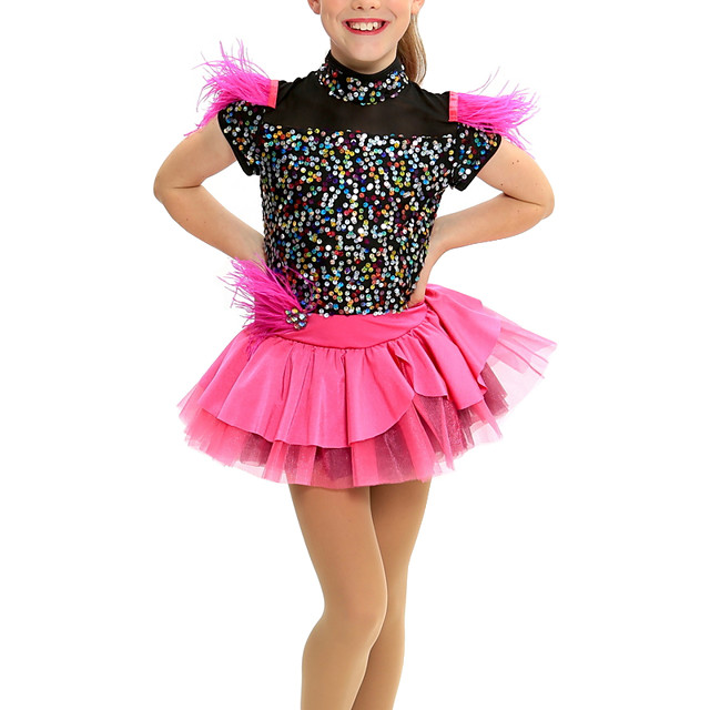 Kids' Dancewear Dress Cascading Ruffles Wave-like Split Joint Girls' Performance Cap Sleeve Natural Mesh Lycra