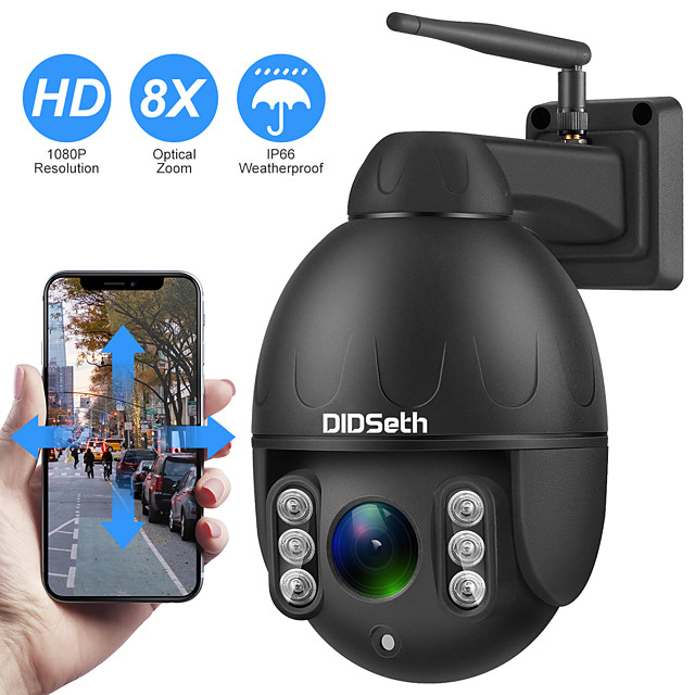 DIDSeth 1080P PTZ IP Camera Wifi Outdoor Speed Dome Wireless Wifi Security Camera Pan Tilt 8X Digital Zoom 2MP Network CCTV Camera