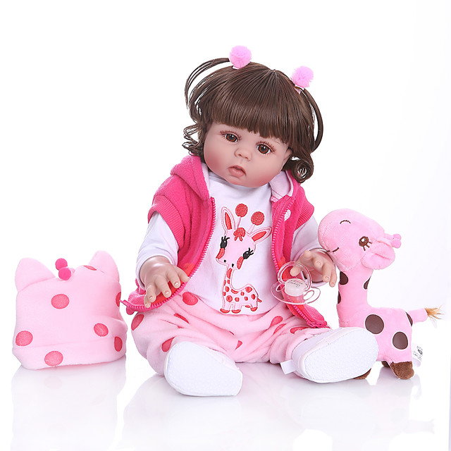 NPKCOLLECTION 20 inch Reborn Doll Baby Baby Girl Gift Cute Artificial Implantation Brown Eyes Full Body Silicone Silicone Silica Gel with Clothes and Accessories for Girls' Birthday and Festival Gifts