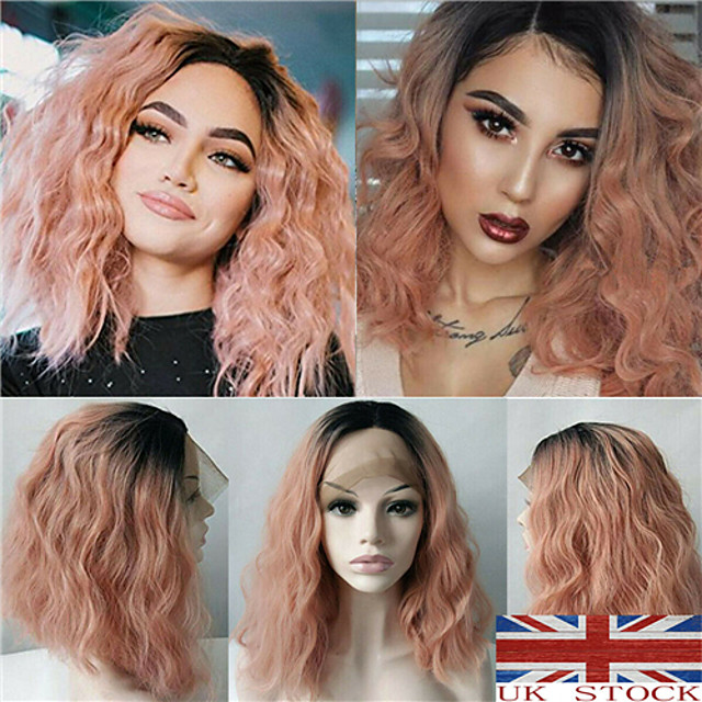 Synthetic Wig Curly kinky Straight Asymmetrical Wig Pink Ombre Medium Length Ombre Pink Synthetic Hair 16 inch Women's Best Quality Pink Ombre