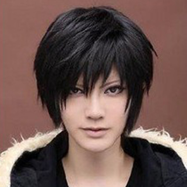 Synthetic Wig kinky Straight Asymmetrical Wig Short Natural Black Synthetic Hair 6 inch Men's Black