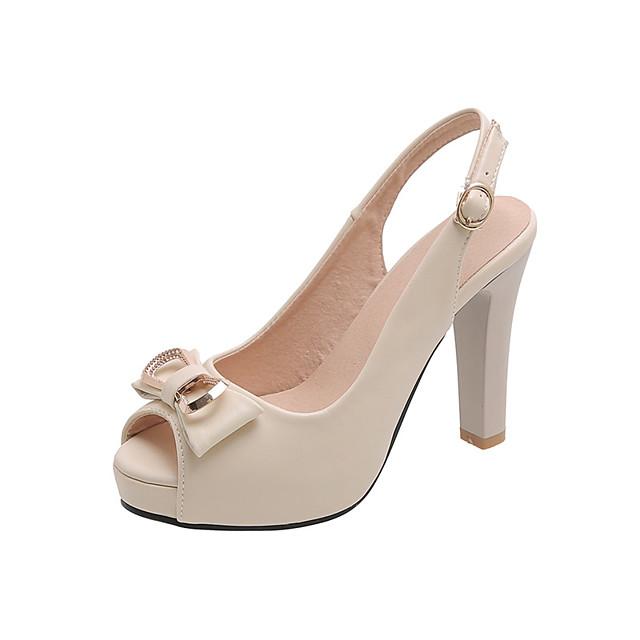 Women's Heels Chunky Heel Peep Toe Bowknot PU Casual Summer Black / White / Beige
