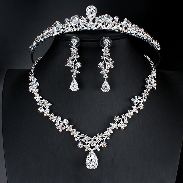 Cubic Zirconia / Rhinestone / Alloy Tiaras / Suits with Scattered Bead Floral Motif Style 3 Pieces Wedding / Birthday Headpiece