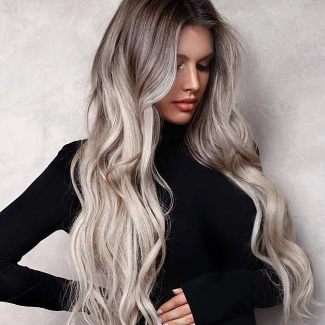 Synthetic Wig Body Wave Asymmetrical Wig Long Grey Synthetic Hair 25 inch Women's Color Gradient Best Quality curling Gray