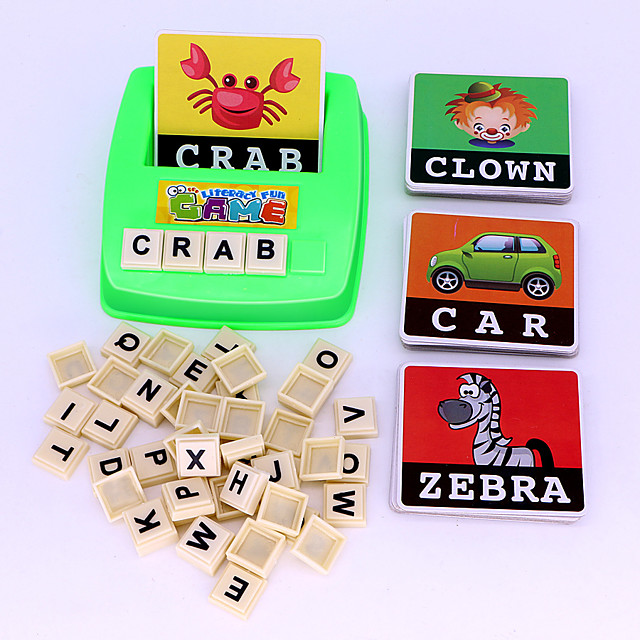 Educational Flash Card Matching Letter Game Picture Word Matching Game Educational Toy Letter Spelling Letter Reading Game Improve Memory ABS Resin Kid's Preschool Cute Kits Non Toxic 30 pcs 3-6 Y