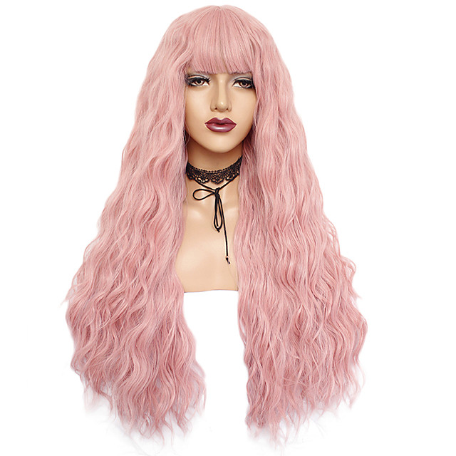 Synthetic Wig Curly Weave Neat Bang Wig Pink Long Black#1B Brown Pink White Blue / Green / Blonde Synthetic Hair 24inch Women's Odor Free Adjustable Heat Resistant Black Blue White / Natural Hairline