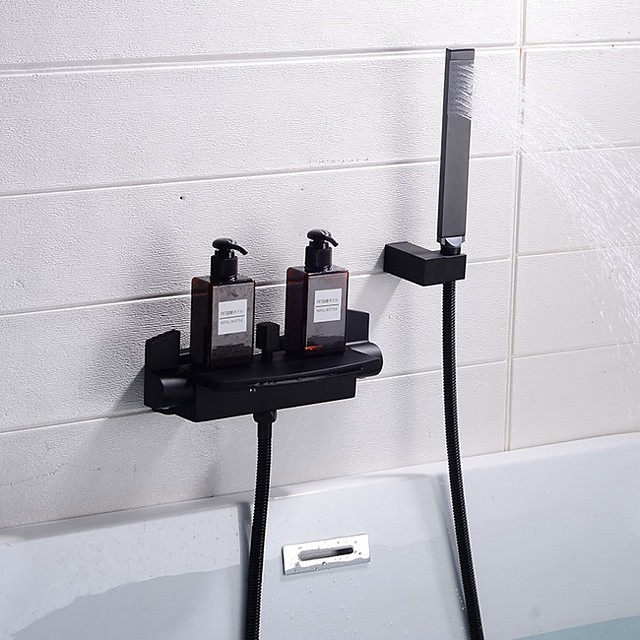Brass Bathtub Faucet,Black Electroplated Wall Mounted Ceramic Valve Bath Shower Mixer Taps with Handshower and Hot/Cold Water