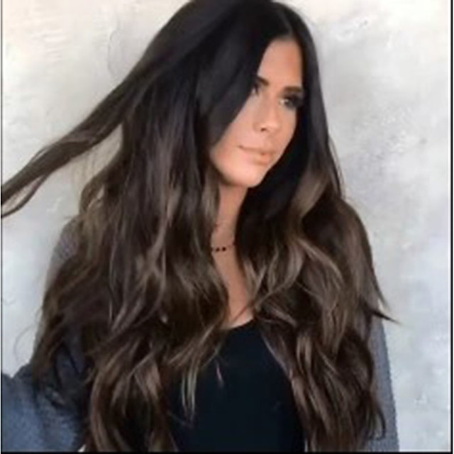 Synthetic Wig Body Wave Asymmetrical Wig Long Brown Synthetic Hair 25 inch Women's Best Quality Middle Part Brown