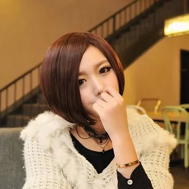 Synthetic Wig kinky Straight Bob Wig Short Brown Synthetic Hair 11 inch Women's Best Quality Brown