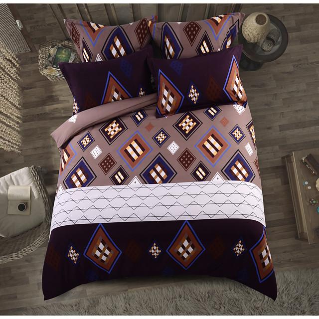Duvet Cover Sets 6 Piece Polyester / Polyamide Geometric Dark Brown Printed Classic / 4pcs (1 Duvet Cover, 1 Flat Sheet, 2 Shams)