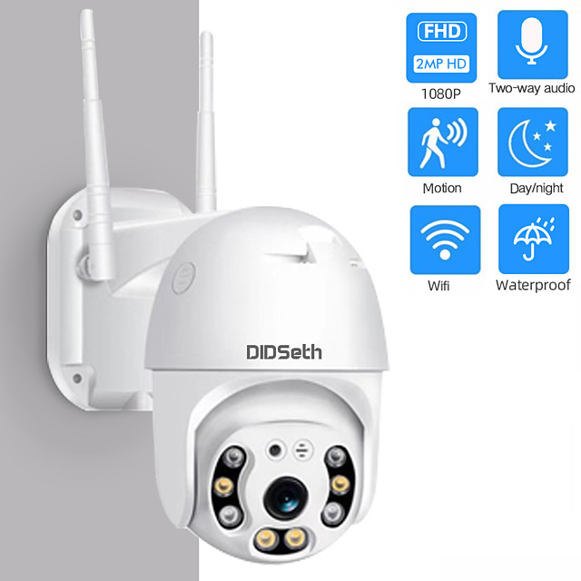 DIDseth HD 1080P 2 mp Wifi Mini PTZ IP Camera Outdoor Wireless CMOS Zoom Speed Dome CCTV Waterproof Night Vision Security Camera Onvif 2MP AI Two-Way Audio Home Surveillance Camera