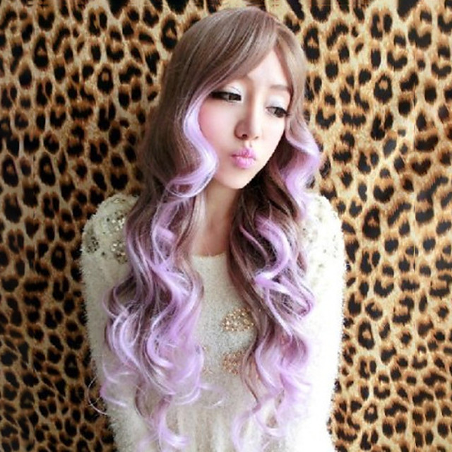 Synthetic Wig Curly Asymmetrical Wig Long Ombre Purple Synthetic Hair 27 inch Women's Best Quality Purple Ombre