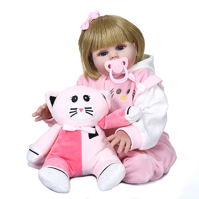 NPKCOLLECTION 20 inch Reborn Doll Baby Baby Girl Gift Hand Made Artificial Implantation Blue Eyes Full Body Silicone Silicone Silica Gel with Clothes and Accessories for Girls' Birthday and Festival