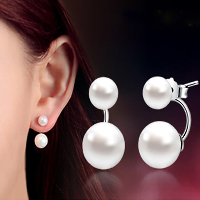 Women's Pearl Earrings Classic Music Notes Stylish Artistic Luxury Trendy Korean Platinum Plated Gold Plated Earrings Jewelry Silver For Christmas Gift Daily Work Festival 1 Pair