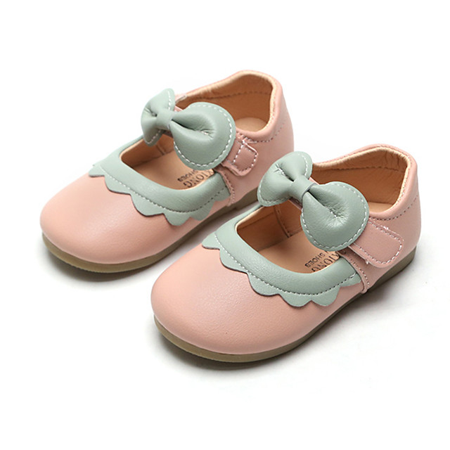 Girls' Flower Girl Shoes PU / Synthetics Flats Dress Shoes Toddler(9m-4ys) / Little Kids(4-7ys) Bowknot / Buckle / Stitching Lace White / Black / Pink Spring / Fall / Party & Evening / Color Block