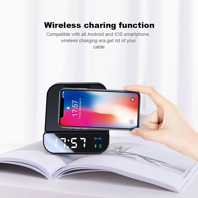 Wireless 5W Charger bluetooth Speaker Alarm Clock 4000 mAh Power Bank Micro USB Fast Charging Phone Holder For Phone