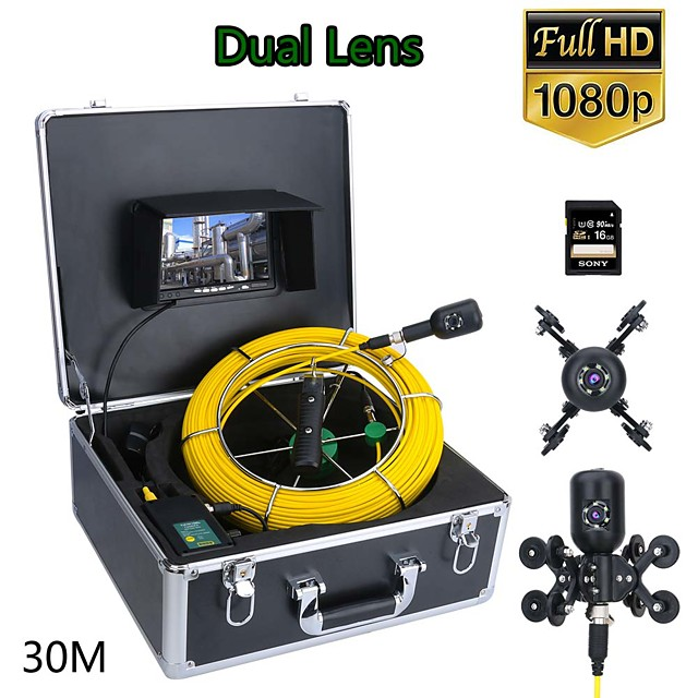 F7PD-2C-30M 7inch DVR 30M 1080P HD Dual Camera Lens Drain Sewer Pipeline Industrial Endoscope Pipe Inspection Video Camera