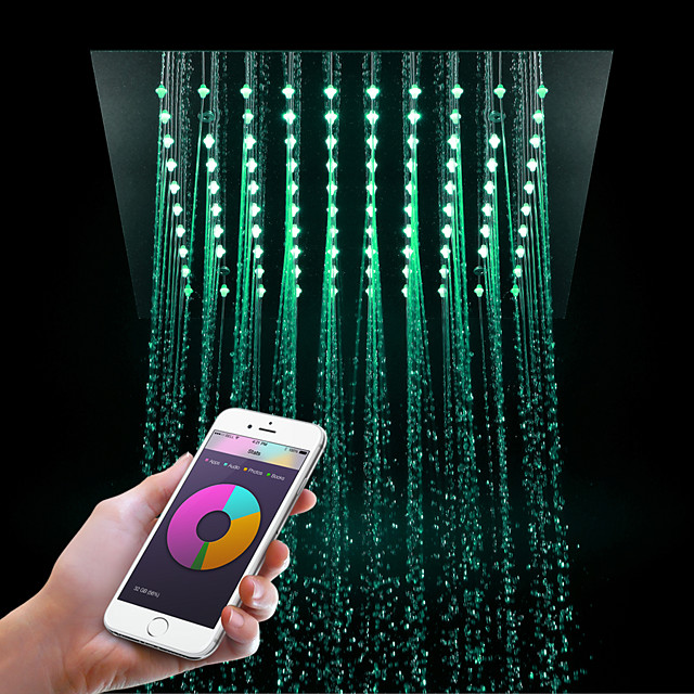 Ceiling Wall Mount Shower Sysertm Luxury Bath Contemporary Rainfall Shower Head Chrome Feature - LED Light Remote Control/Rainfall,Stress Release
