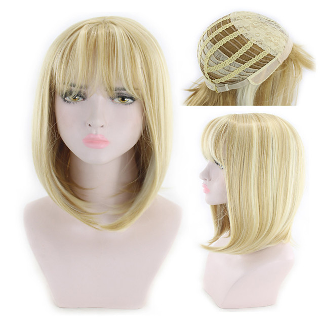 Synthetic Wig kinky Straight Asymmetrical Wig Blonde Short Blonde Synthetic Hair 7 inch Women's Best Quality Blonde