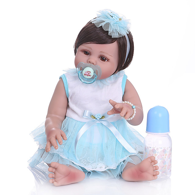 NPKCOLLECTION 20 inch Reborn Doll Baby Baby Girl lifelike Gift Artificial Implantation Brown Eyes Full Body Silicone Silicone Silica Gel with Clothes and Accessories for Girls' Birthday and Festival