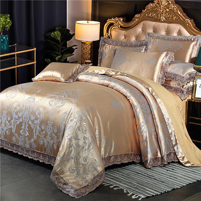 Cotton Tencel Modal Large Jacquard 4 Piece Pure Cotton Satin Wedding Lace Bed Sheet Bedding Set