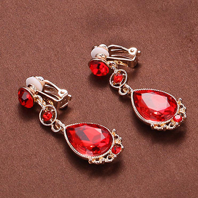 Women's Drop Earrings Clip on Earring Geometrical Drop Stylish Earrings Jewelry Red For Wedding Party Holiday 1 Pair