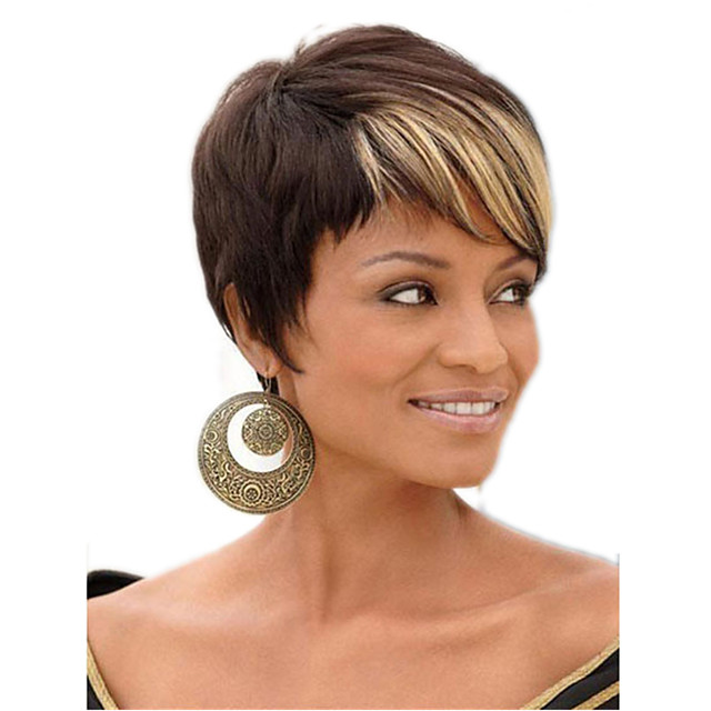 Synthetic Wig Curly Asymmetrical Wig Short Ombre Brown Synthetic Hair 11 inch Women's Best Quality Light Brown
