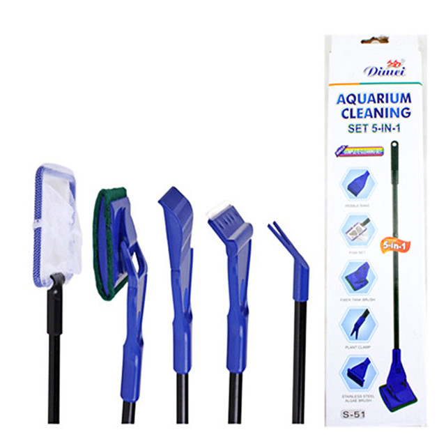 Aquarium Fish Cleaning Brush Set Fish Bowl Portable Cleaning Care Easy to Install Plastic 1pc