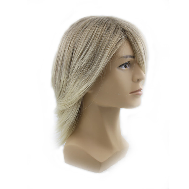 Synthetic Wig kinky Straight Asymmetrical Wig Blonde Short Blonde Synthetic Hair 13 inch Men's Blonde