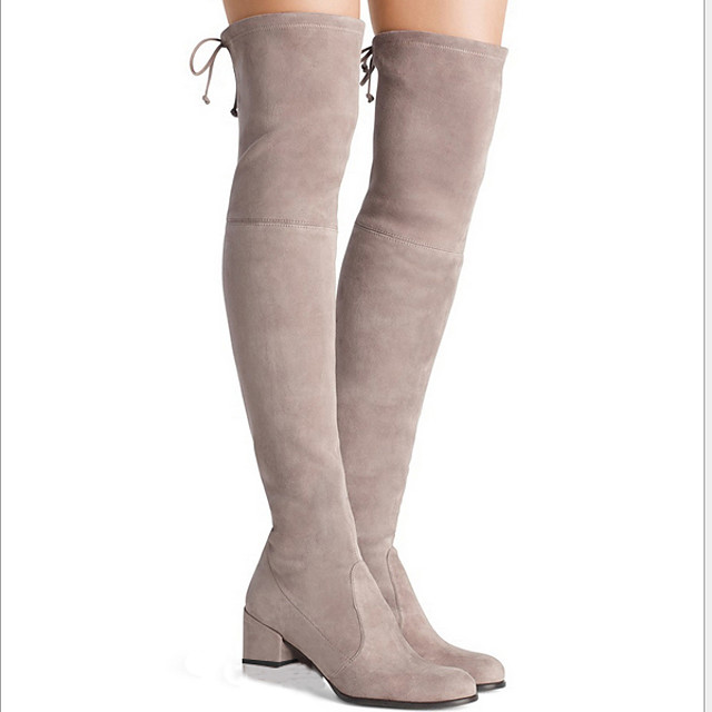 Women's Boots Knee High Boots Chunky Heel Pointed Toe Suede Knee High Boots Fall & Winter Black / Brown / Green