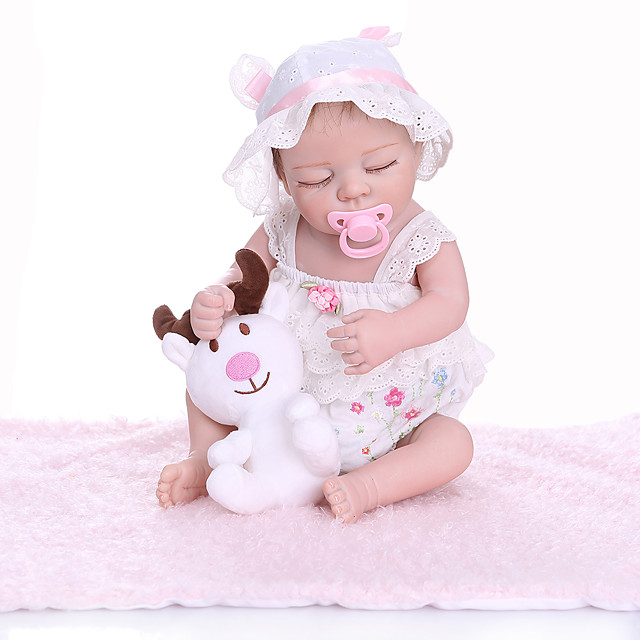 NPKCOLLECTION 20 inch Reborn Doll Baby Baby Girl lifelike Cute New Design Full Body Silicone Silicone Silica Gel with Clothes and Accessories for Girls' Birthday and Festival Gifts