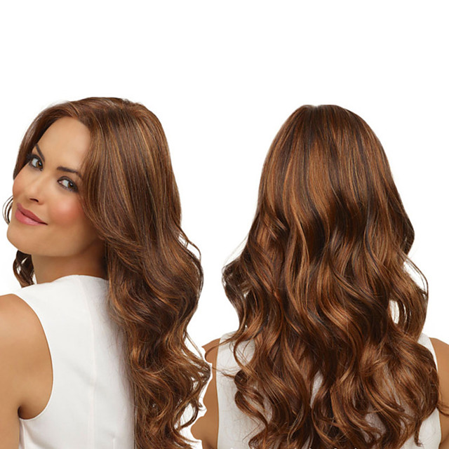 Synthetic Wig Curly Body Wave Asymmetrical Wig Long Brown Synthetic Hair 27 inch Women's Best Quality Brown