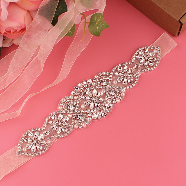 Satin Wedding / Party / Evening Sash With Imitation Pearl / Belt / Appliques Women's Sashes