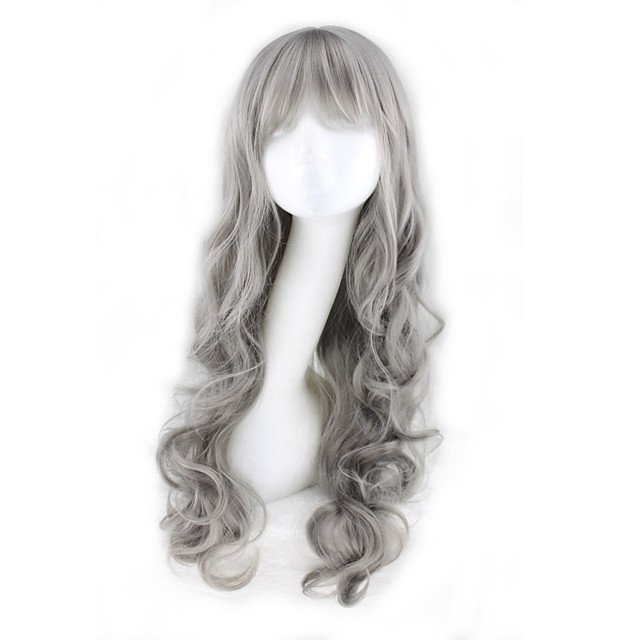 Synthetic Wig Curly Asymmetrical Wig Long Grey Synthetic Hair 27 inch Women's Gray