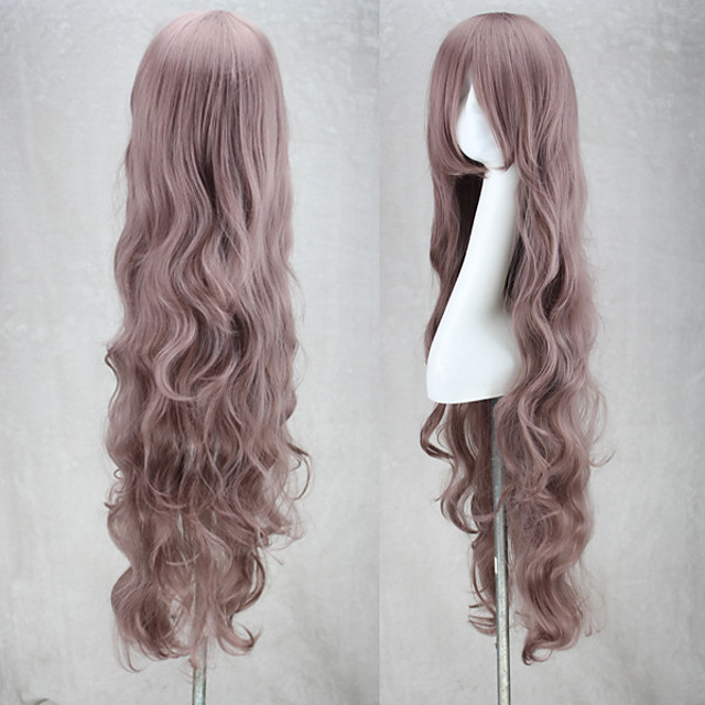 Synthetic Wig Curly kinky Straight Asymmetrical Wig Long Purple Synthetic Hair 27 inch Women's Best Quality Purple