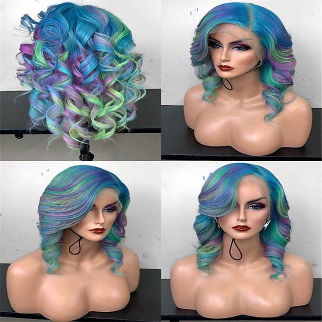 Synthetic Wig Curly kinky Straight Asymmetrical Wig Medium Length Rainbow Synthetic Hair 15 inch Women's Mixed Color