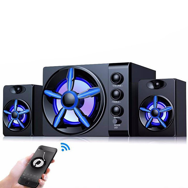 Bluetooth Speakers Built-in Colorful LED 2.1 3 Channel Subwoofer Speaker USB Power Computer MP3 Cellphone Speakers