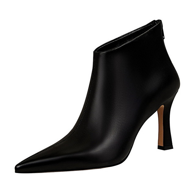 Women's Boots Stiletto Heel Pointed Toe PU Booties / Ankle Boots Spring & Summer Black / White