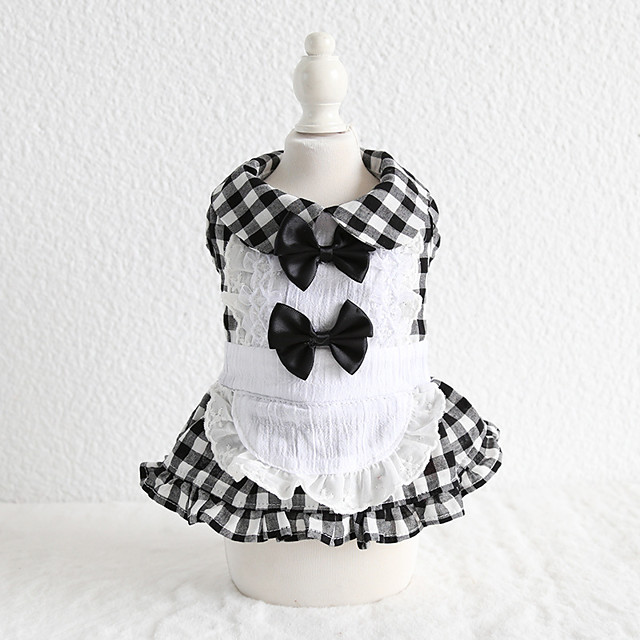 Dog Costume Dress Dog Clothes Breathable Black Costume Beagle Bichon Frise Chihuahua Cotton Plaid / Check Bowknot Lace Cosplay Casual / Sporty XS S M L XL