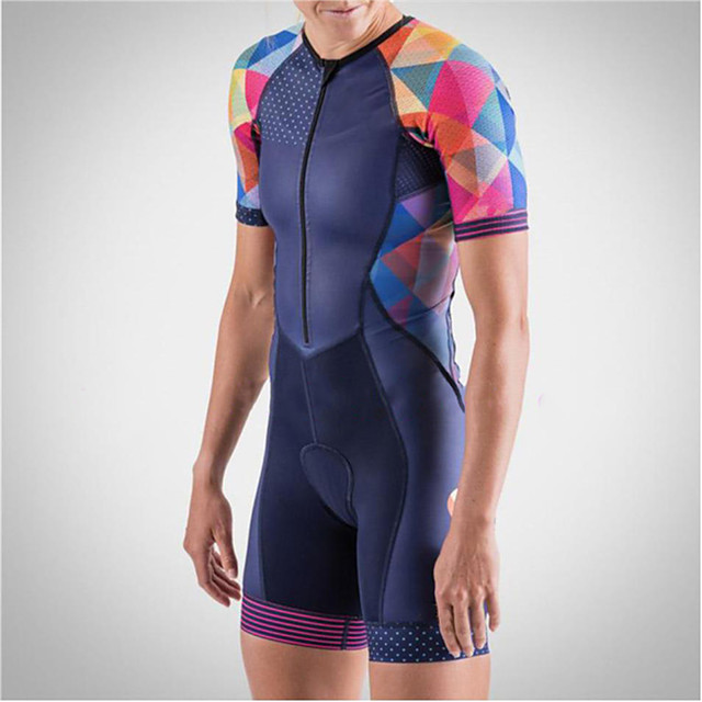 21Grams Men's Short Sleeve Triathlon Tri Suit Polyester Spandex Red+Blue Plaid / Checkered Bike Clothing Suit UV Resistant Breathable Quick Dry Sweat-wicking Sports Plaid / Checkered Mountain Bike
