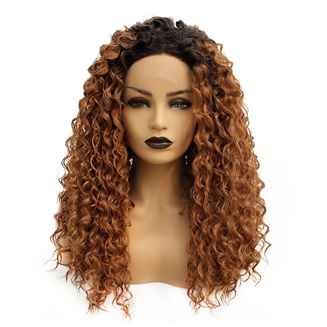 Synthetic Lace Front Wig Curly Shakira Middle Part Lace Front Wig Ombre Long Ombre Brown Synthetic Hair 22-26 inch Women's Heat Resistant Women Hot Sale Brown Ombre / Glueless
