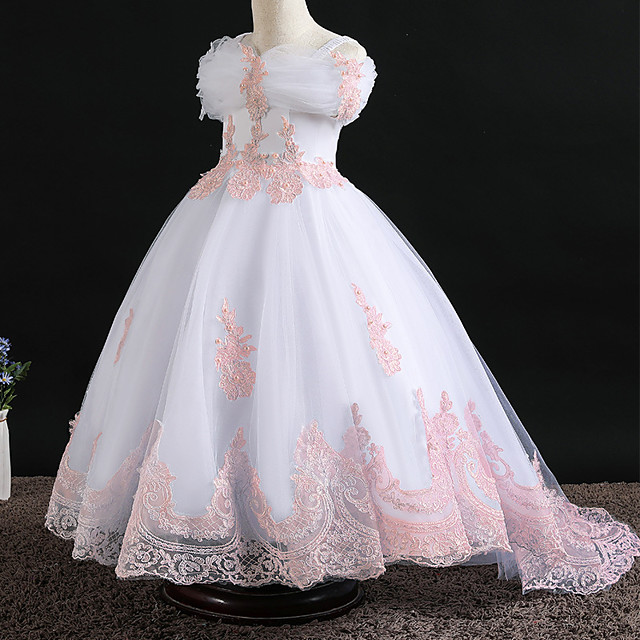Princess Dress Flower Girl Dress Girls' Movie Cosplay A-Line Slip Cosplay Pink / White Dress Halloween Carnival Masquerade Tulle Polyester